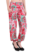 Rayon Tie-Dye Red Two Pockets Casual Wear Slim Fit Trouser