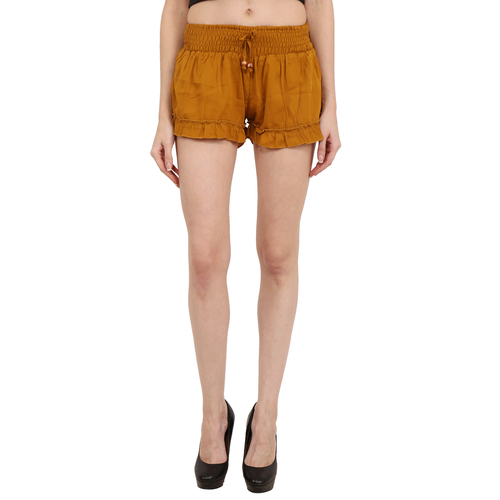 Poly Crepe Solid Women Paty Wear Brown Shorts