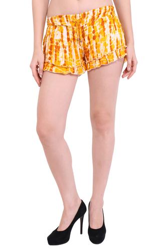 Rayon Party Women Tie-Dye Yellow Color Shorts