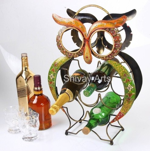 Metal Iron Handcrafted Owl Wine Rack/Holder/Shelf For 9 Bottles