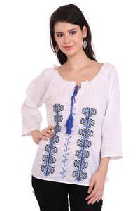Cotton Embroidery White Color Solid Three Quarter Sleeve Top