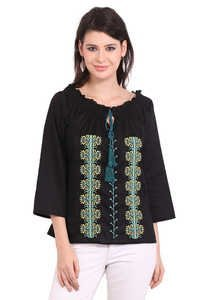Cotton Embroidery Black Color Solid Three Quarter Sleeve Top