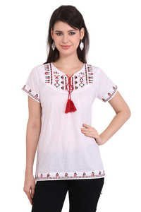 Office wear Cotton Embroidery White Color Solid Casual Wear Cap Sleeve Top