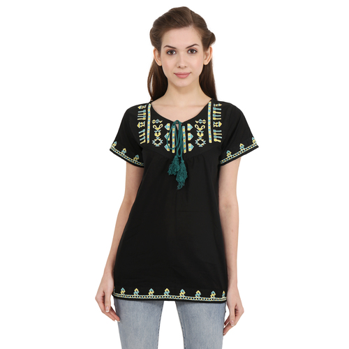 Office wear Cotton Embroidery Black Color Solid Casual Wear Cap Sleeve Top