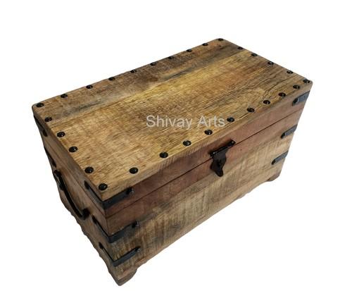 Wooden & Iron Natural Finish Trunk Box Organizer