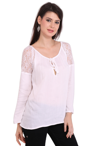 Rayon White Solid Formal Wear Round Neck Lace Top