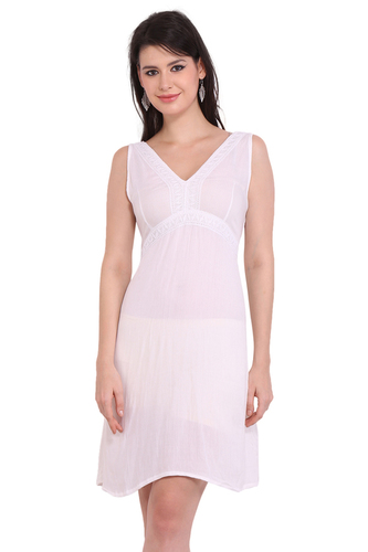 Resort Wear Dresses Rayon Crepe Solid A-Line White Dress