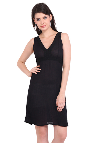 Resort Wear Dresses Rayon Crepe Solid A-Line Black Dress