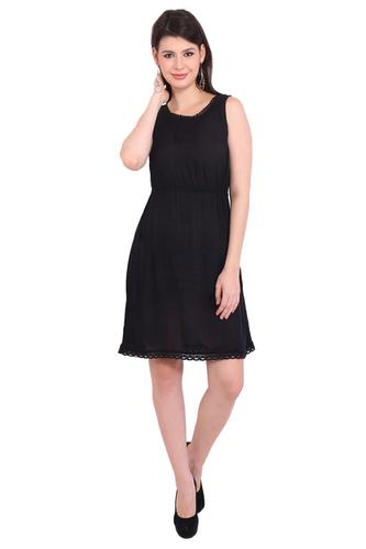 BeachWear Dresses Rayon Crepe Solid A-Line Black Dress