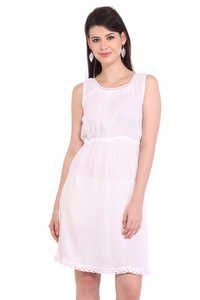 Rayon Crepe Solid A-Line White Dress