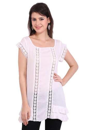 Rayon Crepe Solid Casual Wear White Round Neck Dress