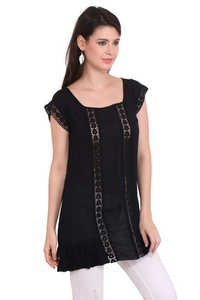 Resort Wear Dresses Rayon Crepe Solid Casual Wear Black Round Neck Dress