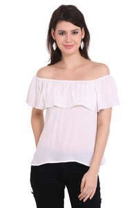 Rayon Crepe Solid Party Wear Off Shoulder White Top