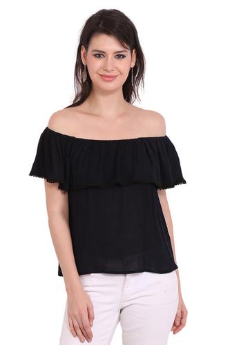 Rayon Crepe Solid Party Wear Off Shoulder Black Top
