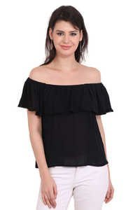 Rayon Crepe Solid Party Wear Off Shoulder Black Top