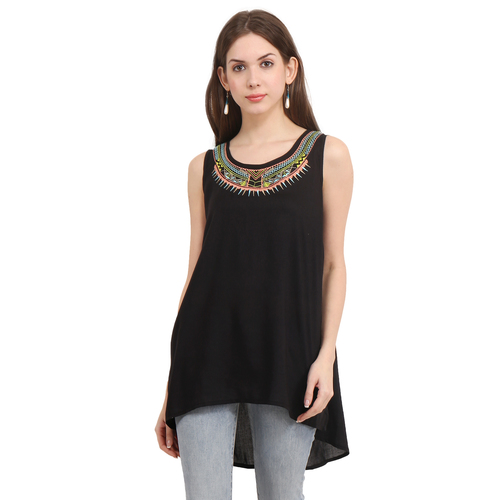 Rayon Black Solid Party Wear Sleeveless Embroidery Top