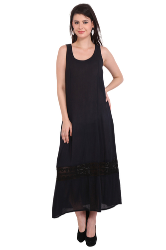 Rayon Crepe Dress Solid Black Long Maxi Dresses