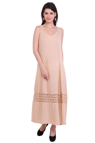 Rayon Crepe Solid Cream Maxi Dress
