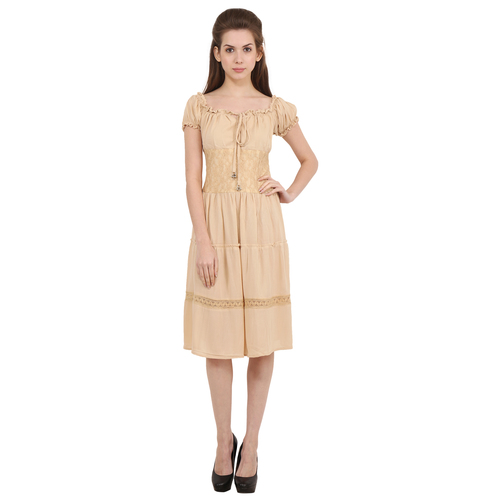 Rayon Crepe Solid A-Line Cream Dress