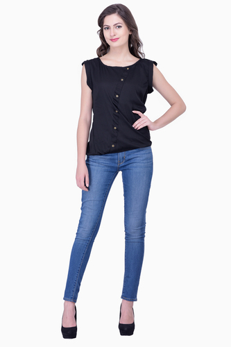 Black Solid Women Party wear office wear Casual Tops