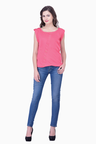 Casual Pink Tops Solid Women Party wear office wear casual wear Tops