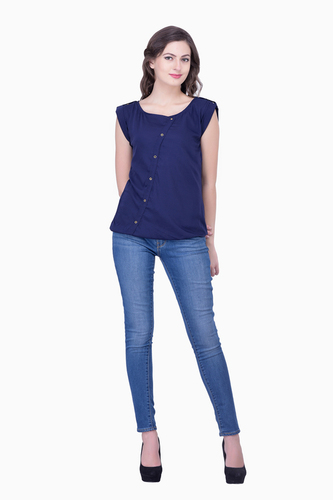 Casual Navy Blue Tops Solid Women Party wear office wear casual wear Tops