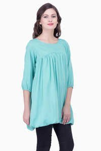Green Solid Women Party wear office wear Casual Tunic Tops