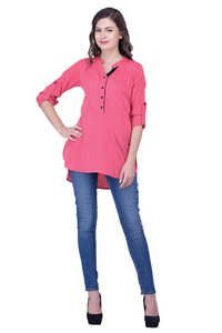 Pink Tops Solid Women Party wear office wear casual wear Tops Tunic