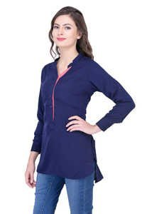 Navy Blue Tops Solid Women Party wear office wear casual wear Tops Tunic