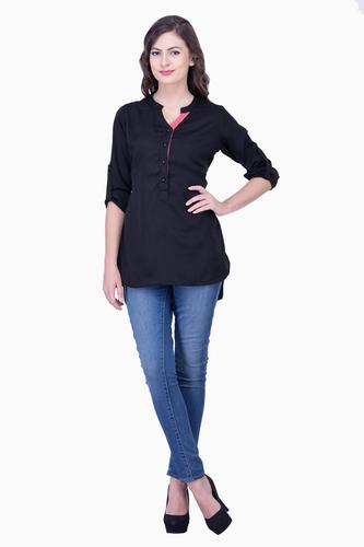 Black Tops Solid Women Party wear office wear Casual Tops Tunic