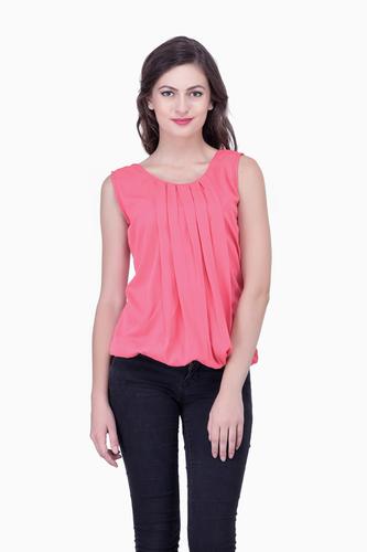 Pink Solid Women Party wear office wear Casual Tops