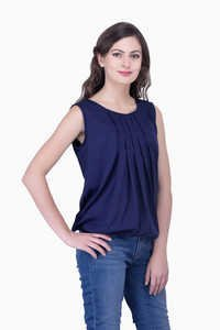 Navy Blue Solid Women Party wear office wear Casual Tops