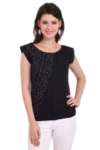 Poly Crepe Black Solid Party Wear Sleeveless Top