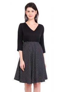 Beachwear dresses Poly Crepe Women A-line Black Dress