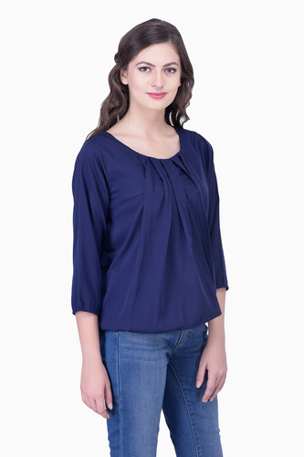 Navy Blue Top Solid Women Party wear office wear Casual Tops