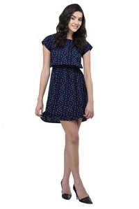 Solid Navy Blue Star Printed Womens Party Wear Beachwear Casual Dresses