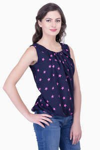 Pink Printed Blouse Party Wear Sleeveless Solid Tops