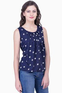 Navy Blue Tops Printed Blouse Party Sleeveless Soild Top