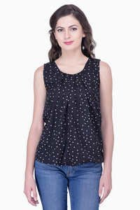 Black Printed Blouse Party Sleeveless Soild Top