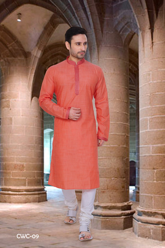 Mens Orange Cotton Kurta Pyjama