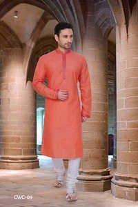 Mens Orange Cotton Kurta Pyjama