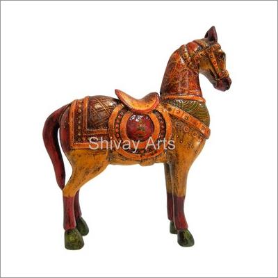 Wooden Multicolor Fine Hand Painted Horse Showpiece Figurine Statue