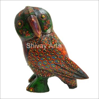 Wooden Multicolor Fine Emboss Owl Showpiece Figurine Statue