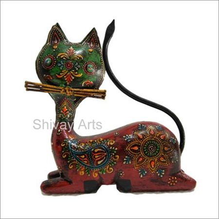 Wooden & Iron Multicolor Fine Emboss Cat Showpiece Figurine Statue