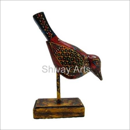 Wooden Multicolored Fine Embossed Bird On Stand Showpiece Figurine Statue