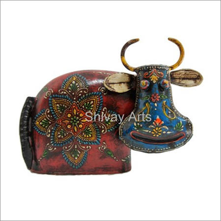 Wooden & Iron Multicolor Fine Emboss Cow Showpiece Figurine Statue