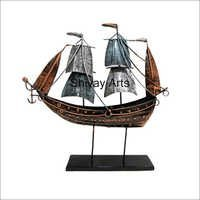 Metal Iron Contemporary Ship On Stand Home Decor Home Accent Showpiece Statue