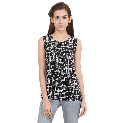 Poly Crepe Black Checked Party Wear Sleeveless Top