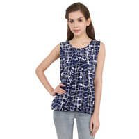 Poly Crepe Blue Checked Party Wear Sleeveless Top