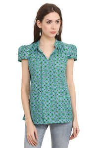 Cotton Printed C.Green Cap Sleeve Slim Fit Top
